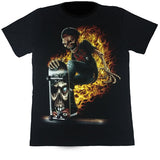 Skeleton Riding Skateboard On Fire Black T Shirt
