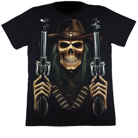 Skeleton With 2 Smoking Guns Black T Shirt