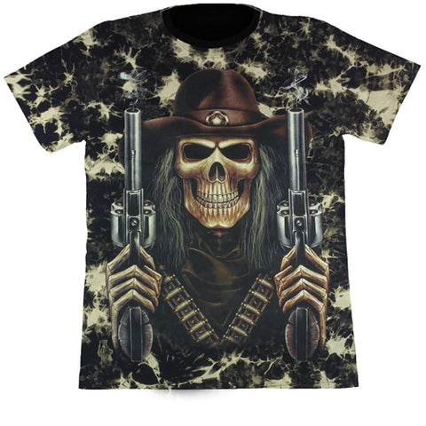 Skeleton With 2 Smoking Guns Black Tie-Dye T Shirt