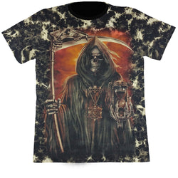 Grim Reaper With A Scythe & A Sand Clock Black Tie-Dye T Shirt