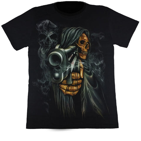Grim Reaper With Pointed Smoking Gun Black T Shirt