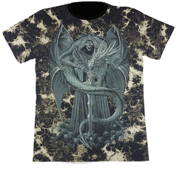 Skeleton With Wings & A Dragon Black Tie-Dye T Shirt