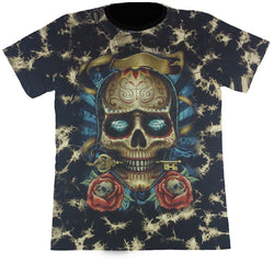 Skull With A Key & Roses Black Tie-Dye T Shirt