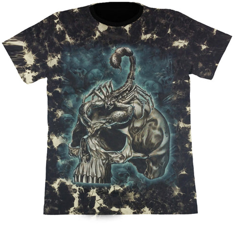 Skull With Scorpion Black Tie-Dye T Shirt