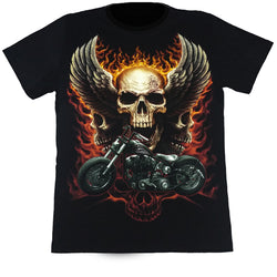 Skull With Wings & A Motorcycle Black T Shirt