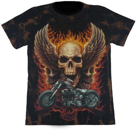 Skull With Wings & A Motorcycle Brown Tie-Dye T Shirt