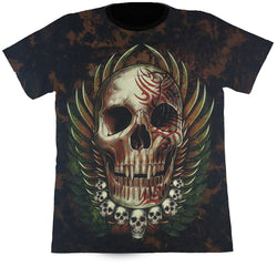 Large Skull With Small Skulls & Wings Brown Tie-Dye T Shirt