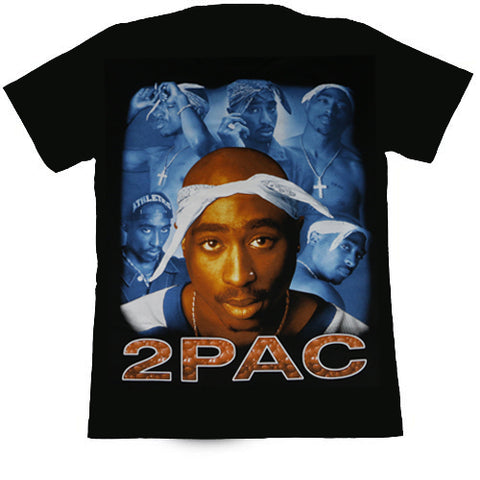 2Pac (5 Faces)  Black T Shirt