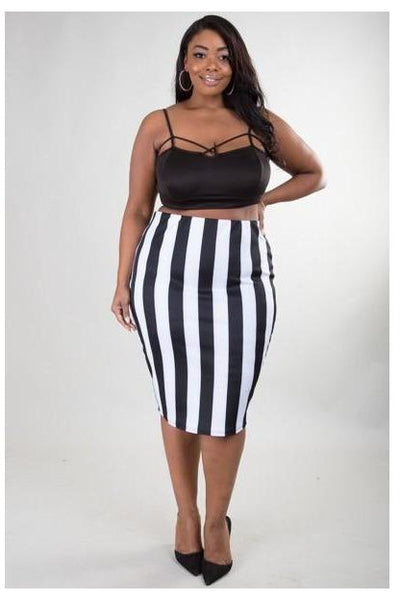 Stripe Midi Skirt (PLUS size) - The Envy Shoetique