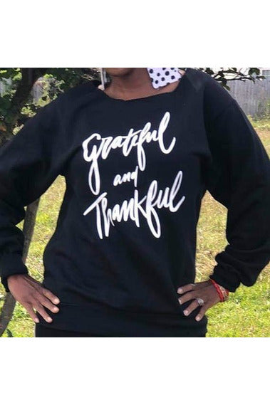 Grateful + Thankful Sweatshirt (Sm-3x) - The Envy Shoetique