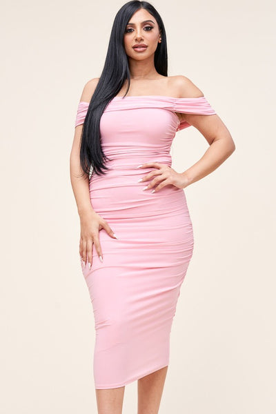 ALL THAT CLASS MIDI DRESS (LT PINK)