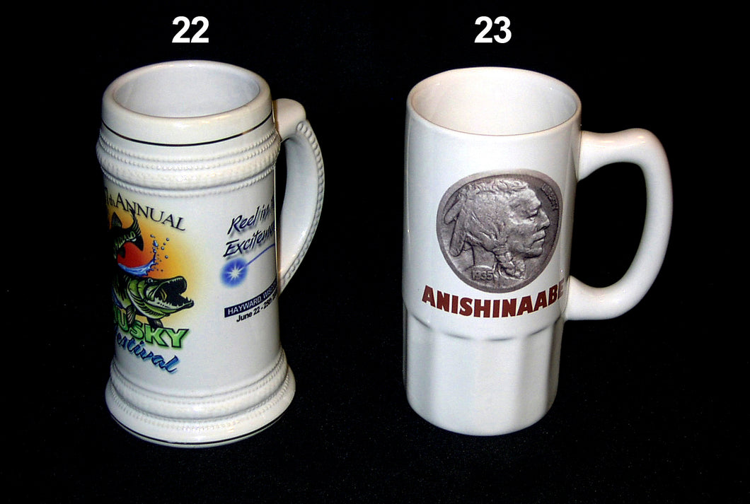 22. WHITE GERMAN BEER STEINS & 23. WHITE CERAMIC FLUTTED BOTTOM BEER STEINS - AutomotiveFineArt.com