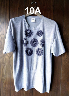 BLACK CHAKRAS ON GRAY T-SHIRT
