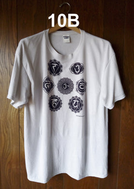 BLACK CHAKRAS ON SILVER T-SHIRT