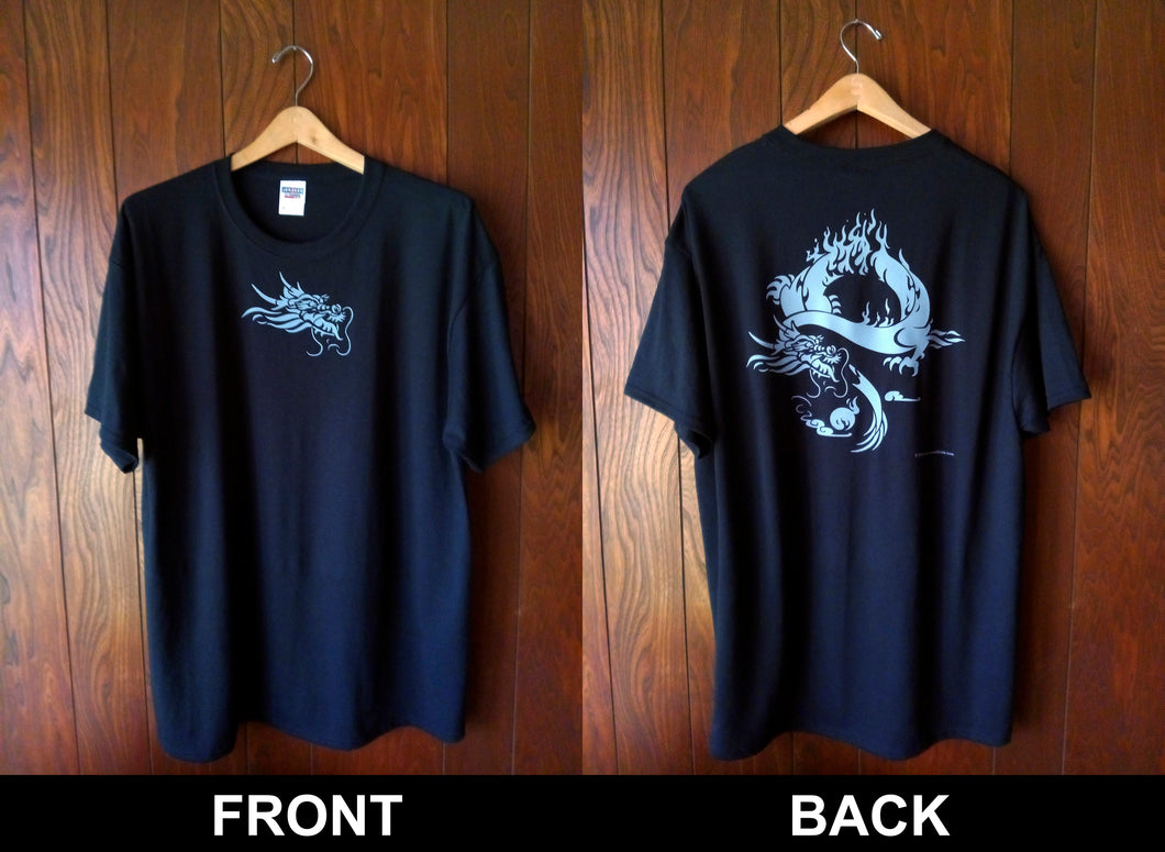 GRAY DRAGON ON BLACK T-SHIRT (FRONT AND BACK)