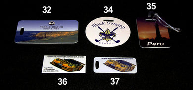 32. SPORTS BAG TAG, 33. GOLF CART LICENSE PLATES, 34. SPORTS BAG TAG CIRCLE, 35. LUGGAGE TAG, 36. REFRIGERATOR MAGNETS, 37. BRIEFCASE TAG - AutomotiveFineArt.com