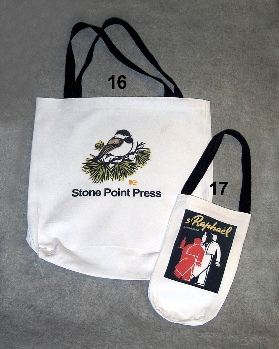 16. TOTE BAGS (WHITE ONLY), 17. WINE TOTE BAGS (WHITE ONLY)