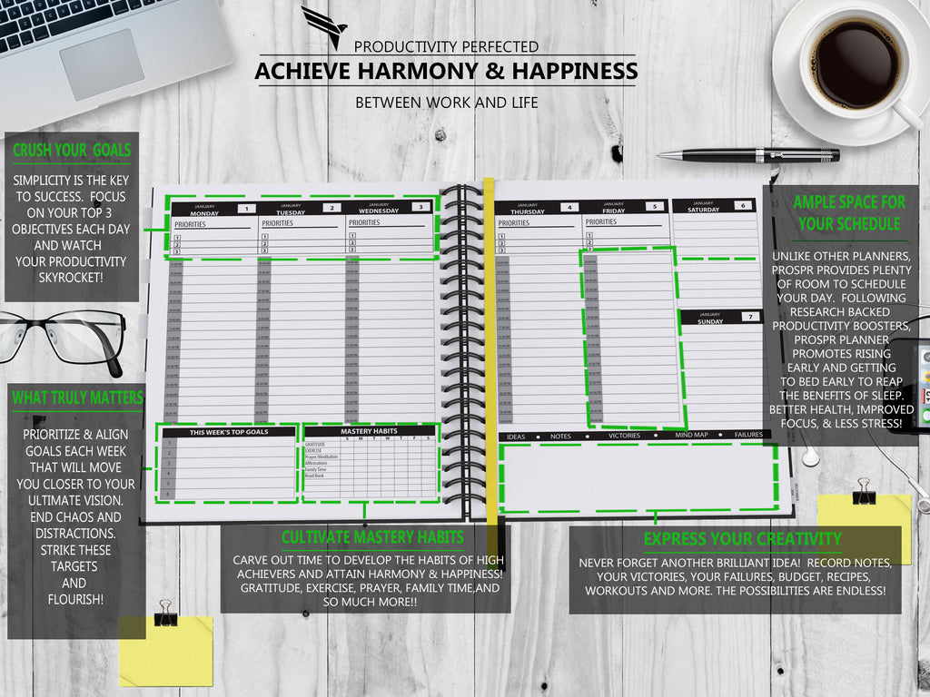 "PROSPR 2018 Yearly Planner -Mastery Edition 8.5""x11"" - PROSPR Productivity Planner and Happiness Gratitude Journal 2018"