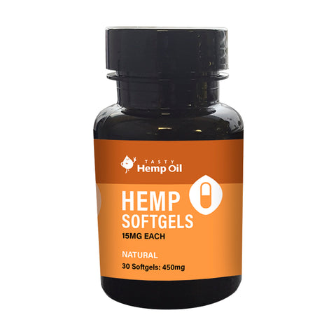 Tasty Hemp Oil: Hemp Softgels (30 Pack / 15mg ea)