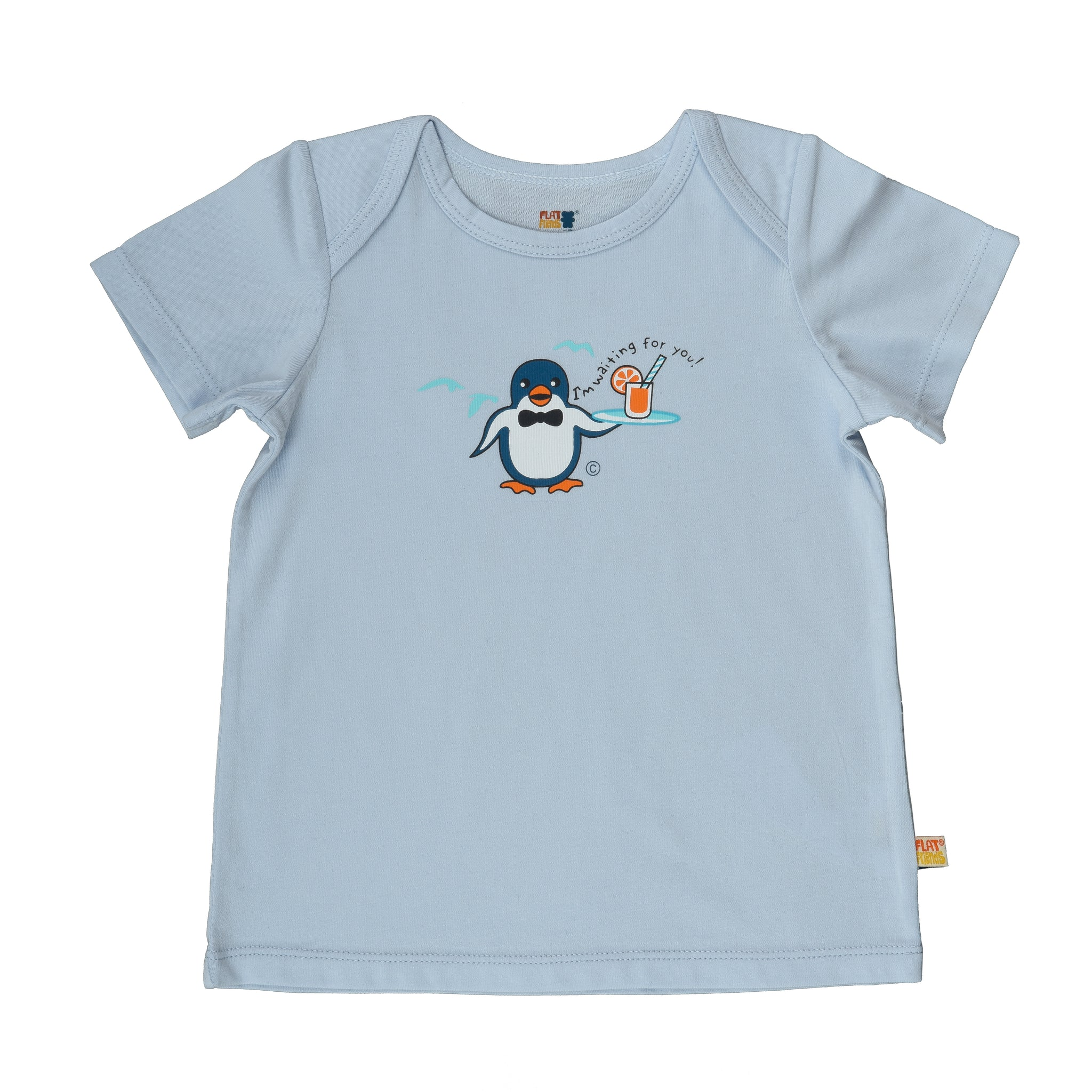 Baby Short Sleeve T-Shirt - Organic Cotton -Penguin