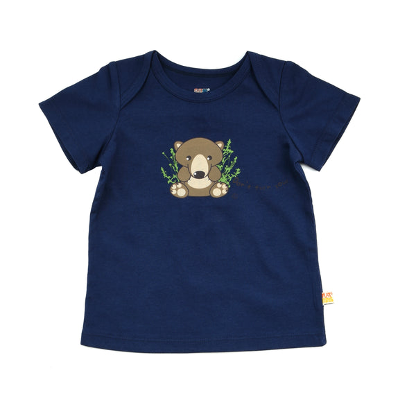 Baby Short Sleeve T-Shirt - Organic Cotton -Grizzly Bear