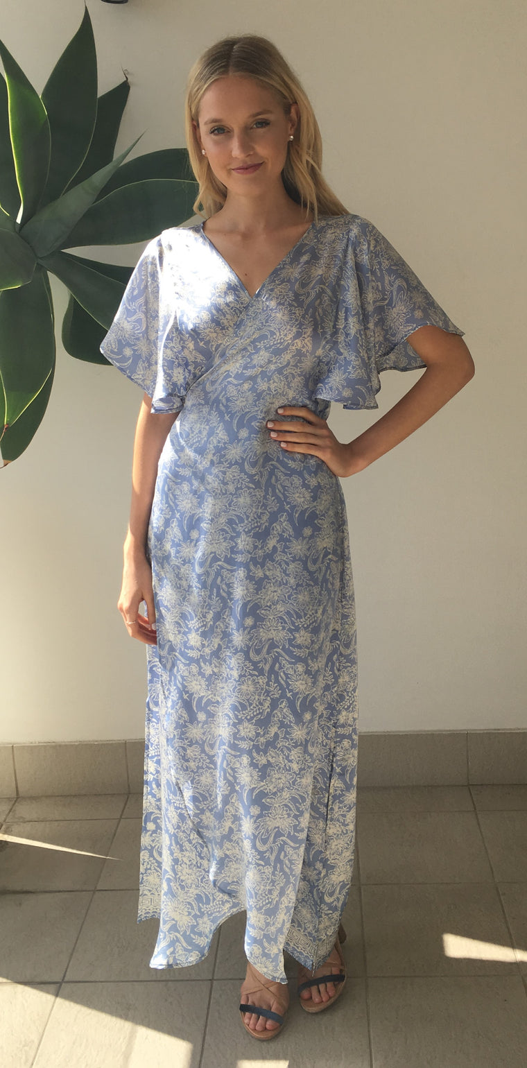 et cetera WOMAN Cross Your Heart wrap dress in hand-batik silk