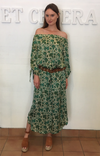 et cetera WOMAN Yasmin off the shoulder column dress in hand-batik silk