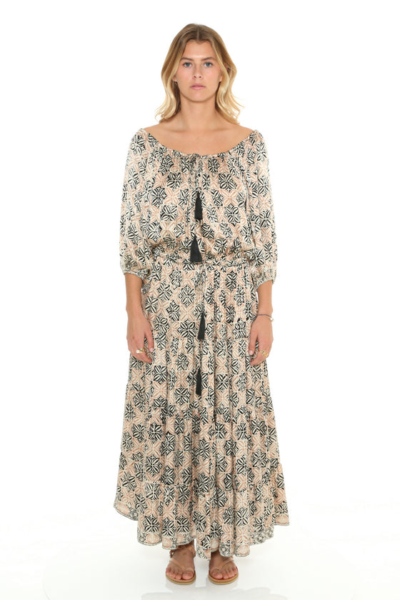 [et cetera] WOMAN Palmy Gypsy Three Tiered Midi Dress