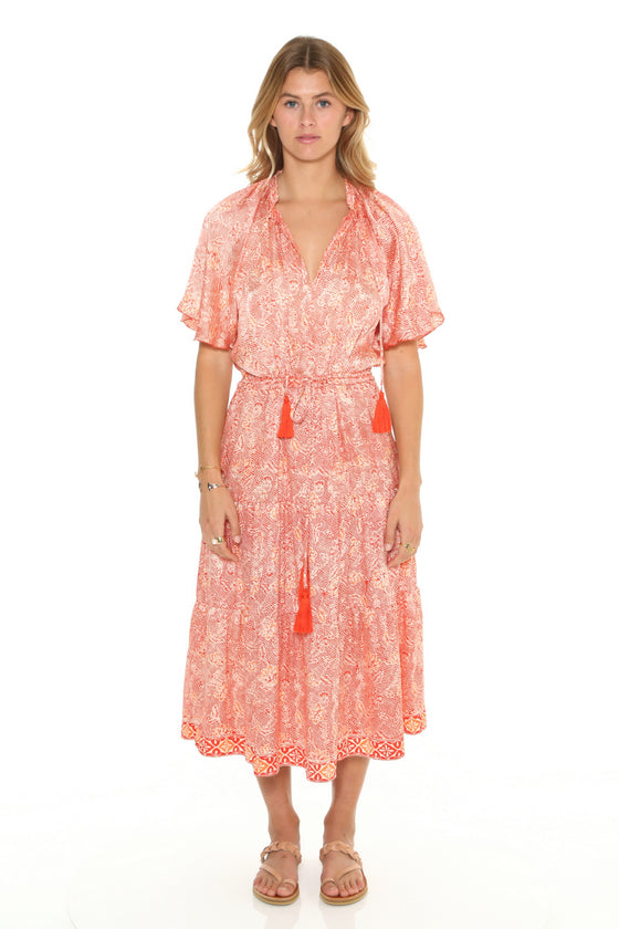 [et cetera] WOMAN Orpheus Short Sleeve Peasant Dress with Flounce Skirt