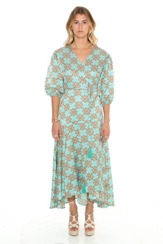 [et cetera] WOMAN Torquay Wrap Dress with Balloon Sleeves and Peplum Skirt