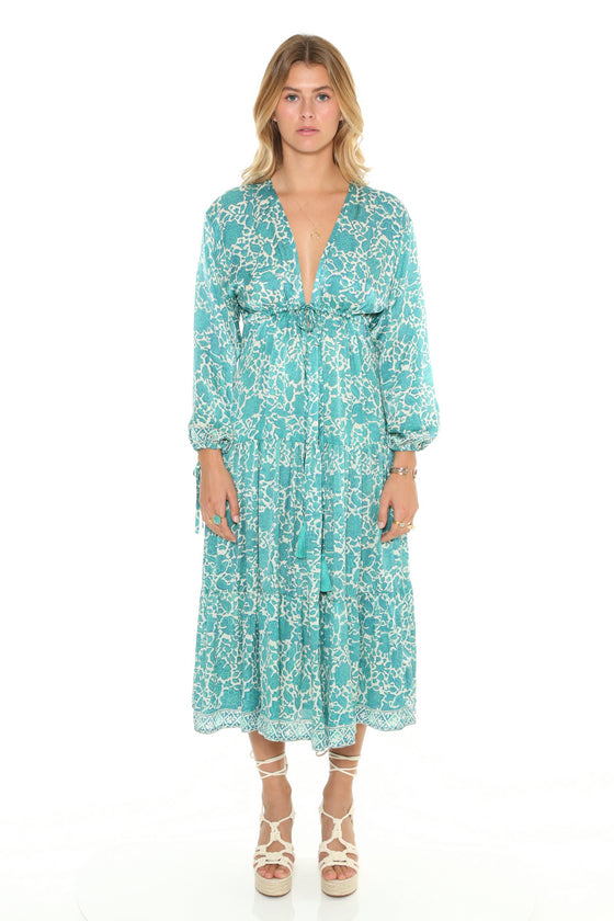 [et cetera] WOMAN Cabarita Plunging V Midi Dress with Flounce Skirt