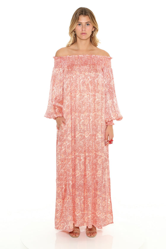 [et cetera] WOMAN Apollo Bay Shirred Off the Shoulder Bishop Sleeve Maxi Dress