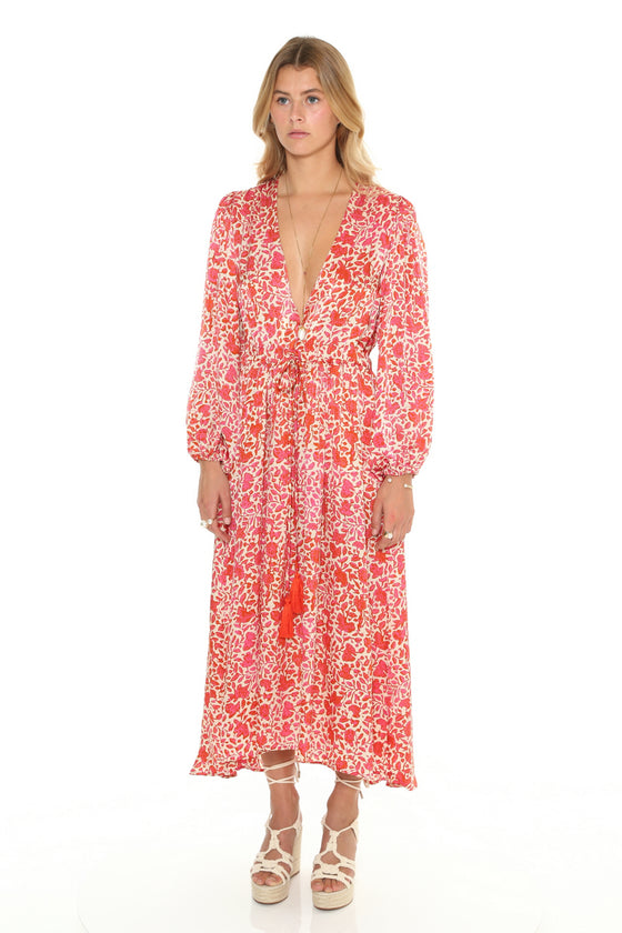 Peregian V Neck Bishop Sleeve Maxi Dress
