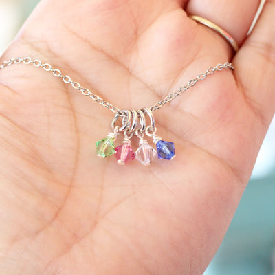 Mom Birthstone Charm Necklace
