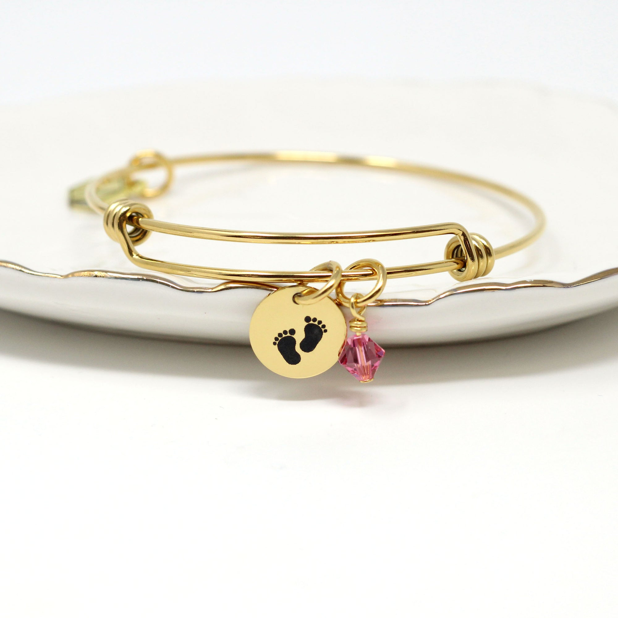Baby Feet Bangle Bracelet - Mommy to Be