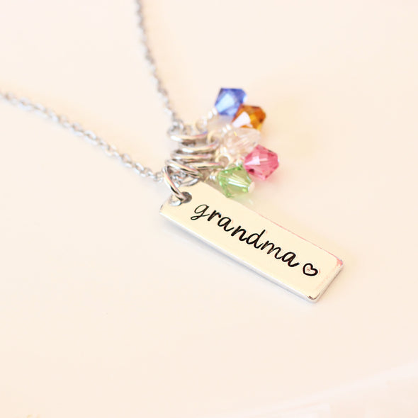 Grandma Bar Birthstone Necklace