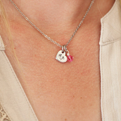 Heart Shaped Baby Feet Charm Necklace