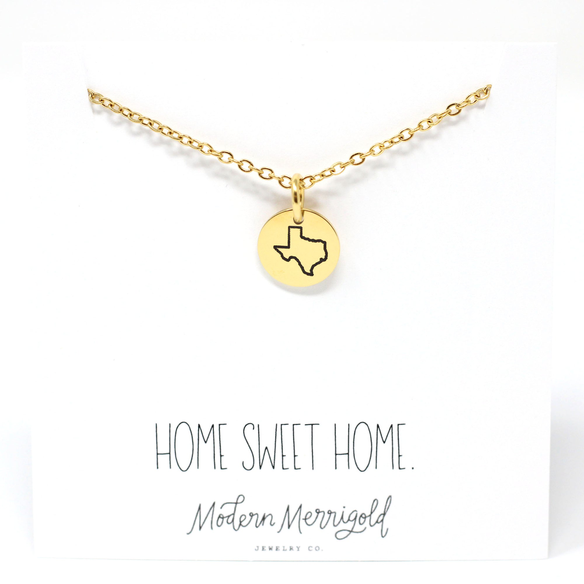 Home Sweet Home State Charm Necklace
