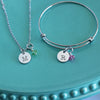 Design Your Own - Stamped Initial Necklace with Birthstone