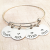 hand stamped name bangle bracelet