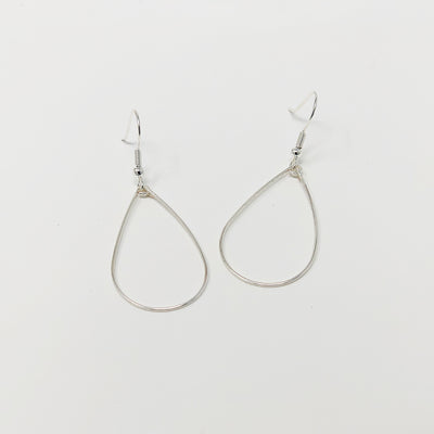 silver wire teardrop earrings