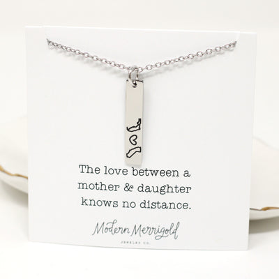 personalized state bar necklace on necklace card