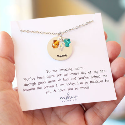 Personalized Birthstone Necklace for Mom