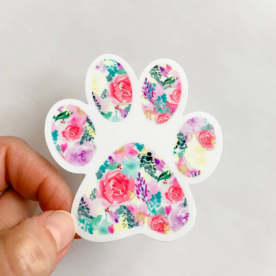 Bright Floral Paw Print Decal