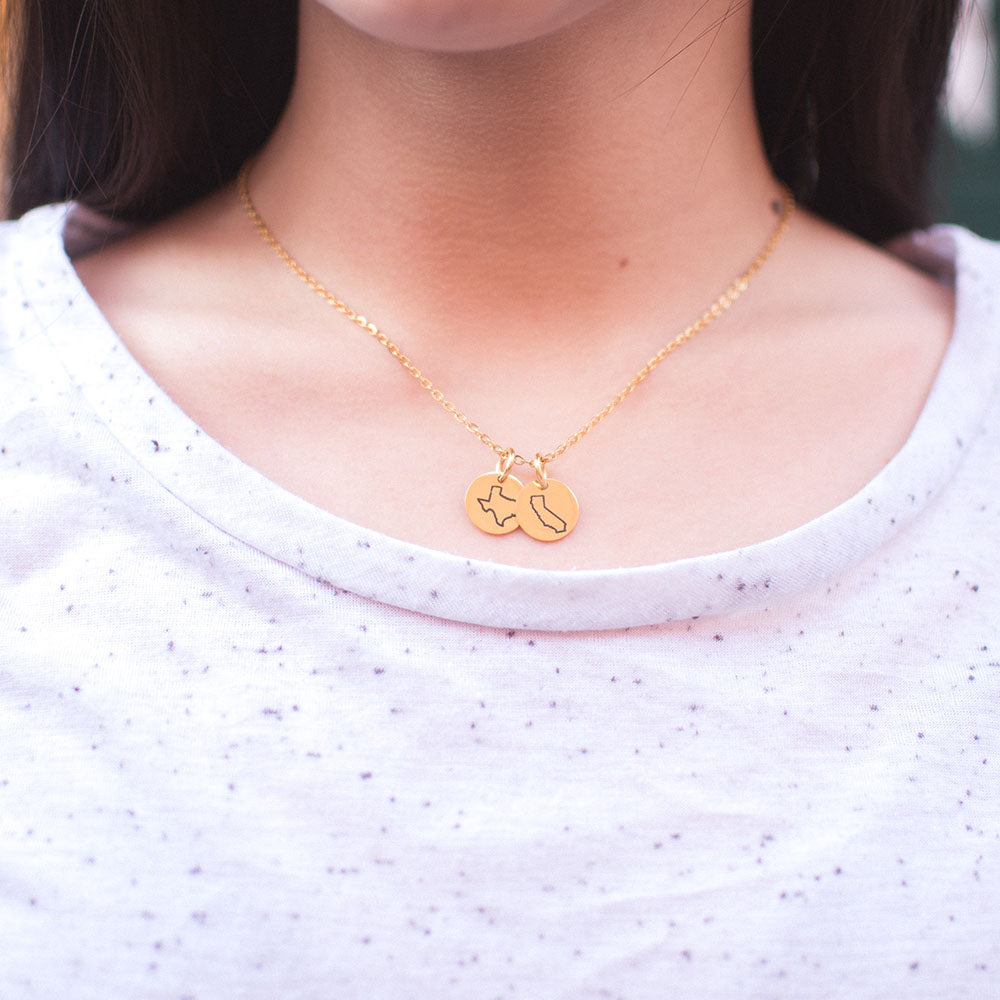 Gold State Charm Necklace on Model