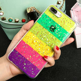 Cute Colorful Rainbow Phone Cases For iPhone 7 6 6s Plus Case Fashion Glitter Powder Stars Phone Cases Soft TPU Funda Shell Capa