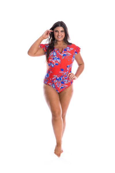 red plus size bathing suit