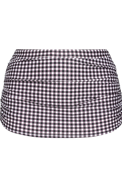 Retro Check Ruched Skirted Swim Pant Bottom