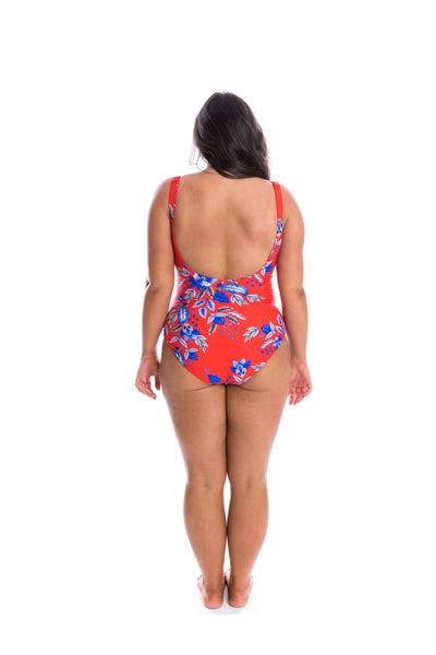 red one piece swimsuit