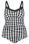 Underwire One Piece Swimsuit Black & White Dots